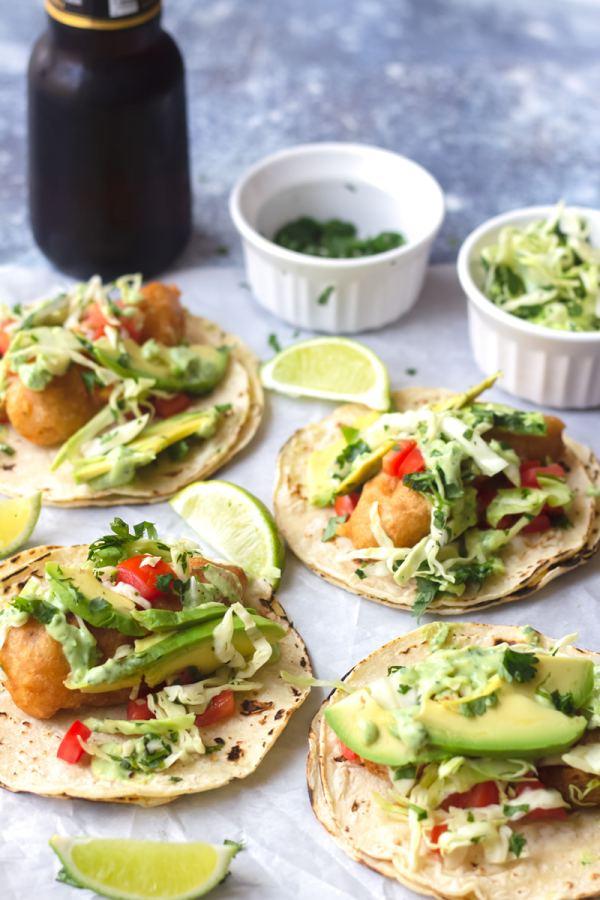 crispy baja fish tacos with cabbage slaw