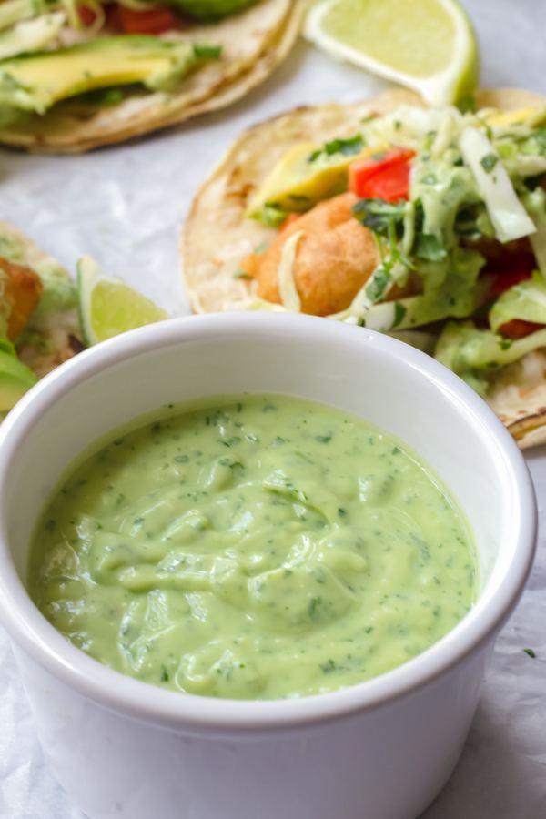 avocado crema served with fish tacos