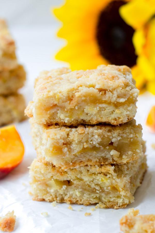 stacked apple peach crumb bars
