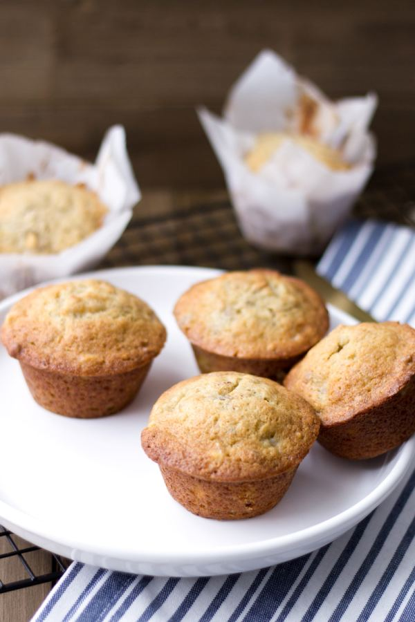 banana pecan muffins with maple walnuts