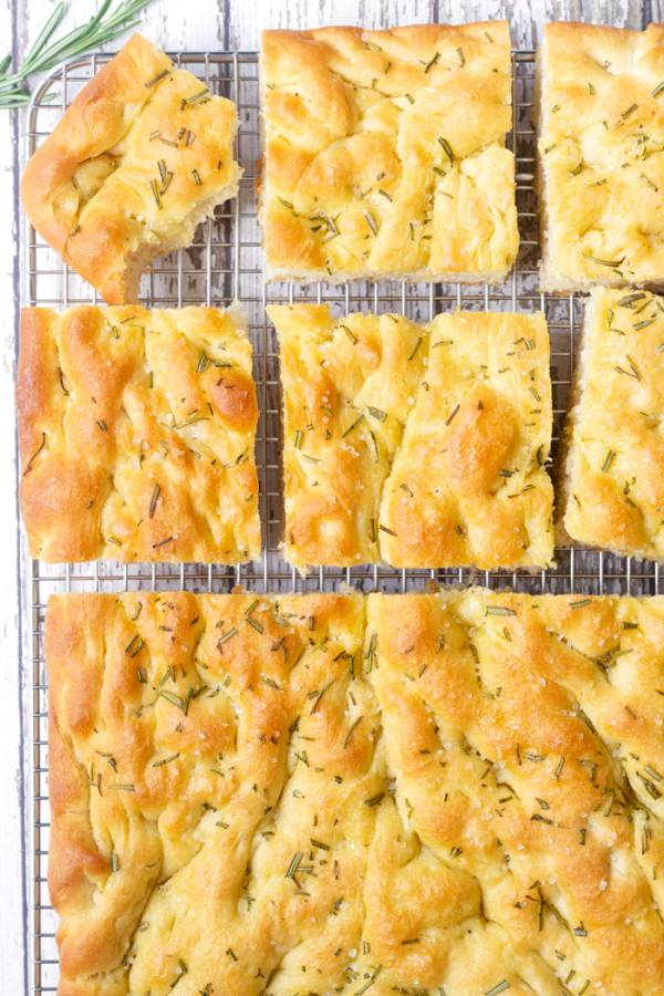 rosemary focaccia on cooling rack