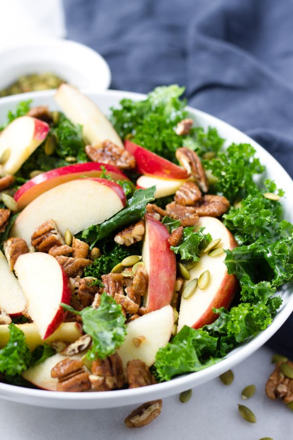 kale and apple salad with apple cider dressing
