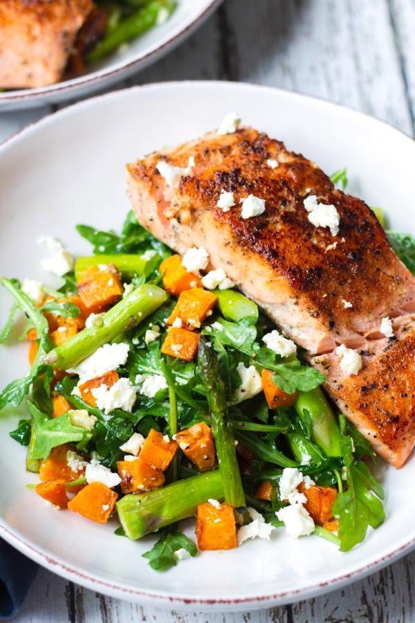 roasted asparagus salad with salmon