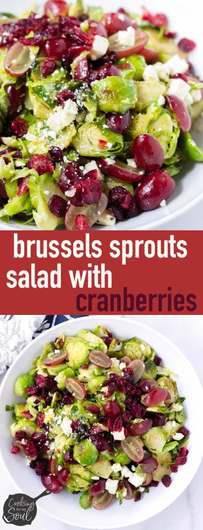 easy brussels sprouts salad with cranberries