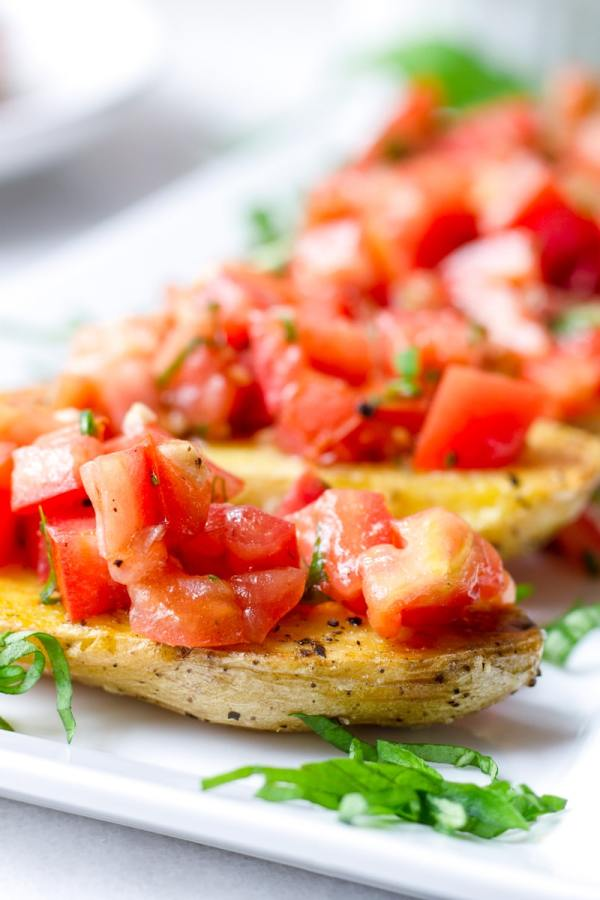 Fingerling Potato Bruschetta Appetizer