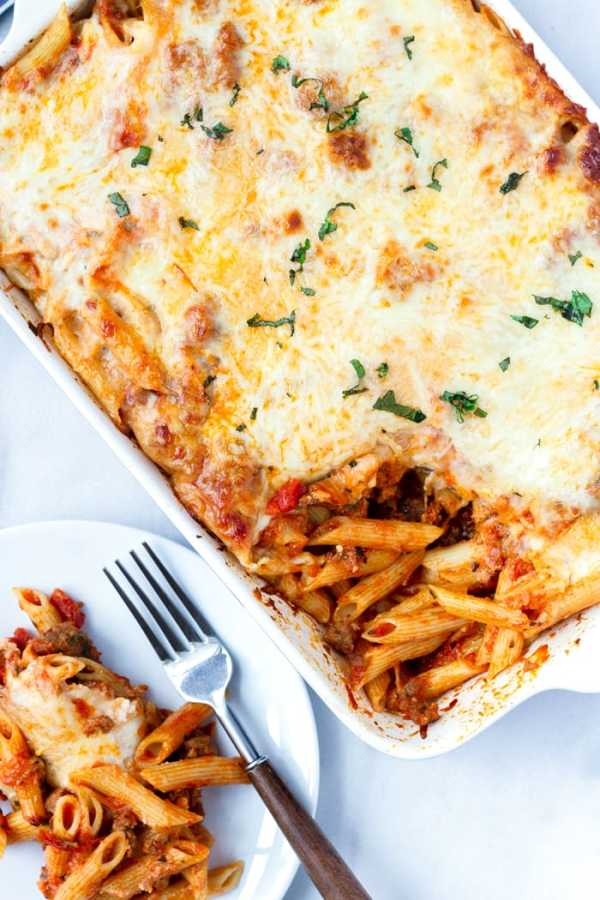 Italian Sausage Pasta Bake Made with Penne