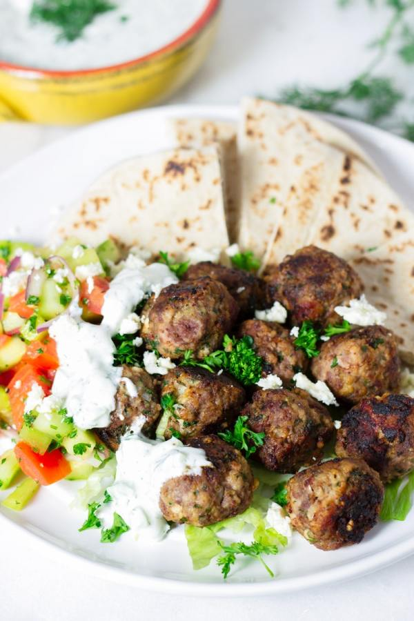 Greek Meatball Platter with Pita and Cucumber Salad