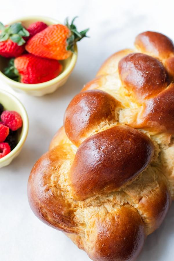 Loaf of Challah Bread with Berries