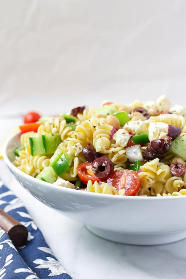 Bowl of Greek Pasta Salad with Feta