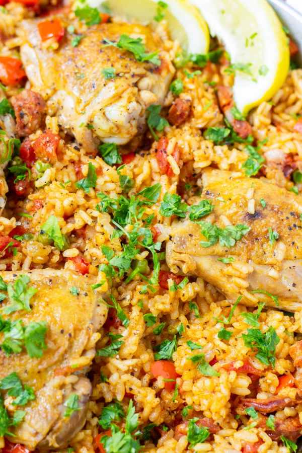 Spanish Chicken Paella with Peas