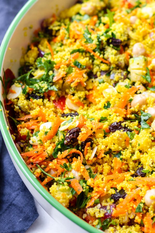 A bowl of Moroccan Couscous with Turmeric