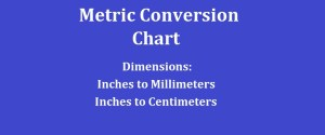 Metric Conversion Chart - Dimensions - Inches to millimeters & centimeters