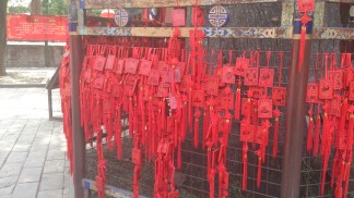 Wishes hung at Confucius temple