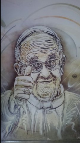 Pope Francis painting, in Spagna tube station