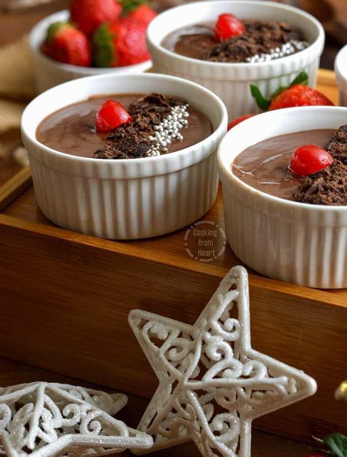 Easy Eggless Chocolate Pudding | No Bake Chocolate Pudding