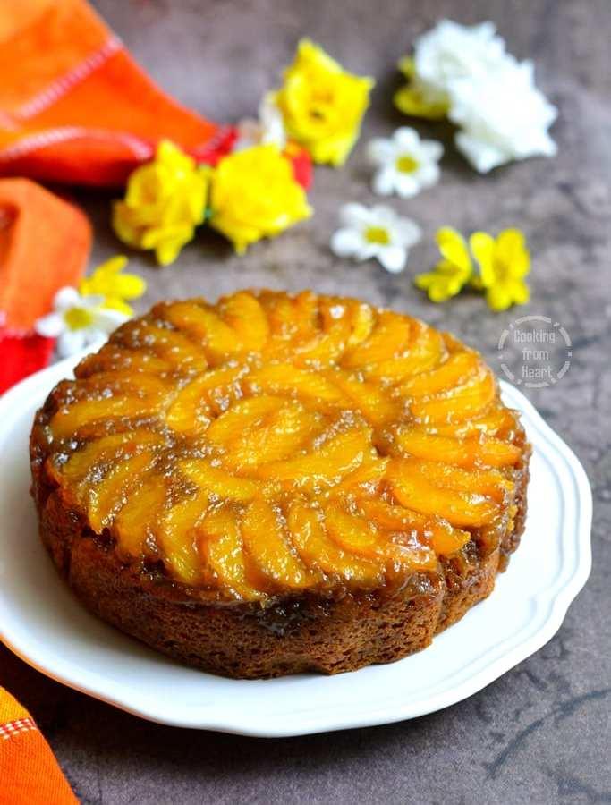 Eggless Upside Down Peach Cake