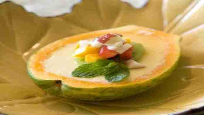 Orange-Panacotta-with-Fresh-Papaya