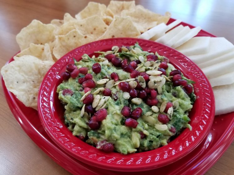 Guacamole with Pomegranate and Sprouted Pumpkin Seeds