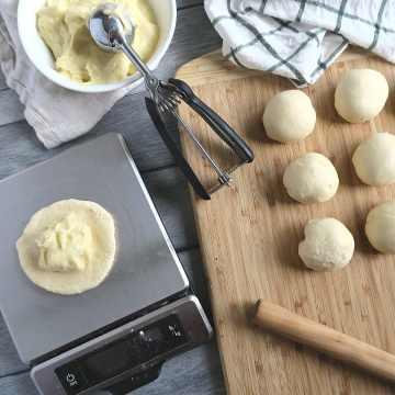 assembling custard buns.