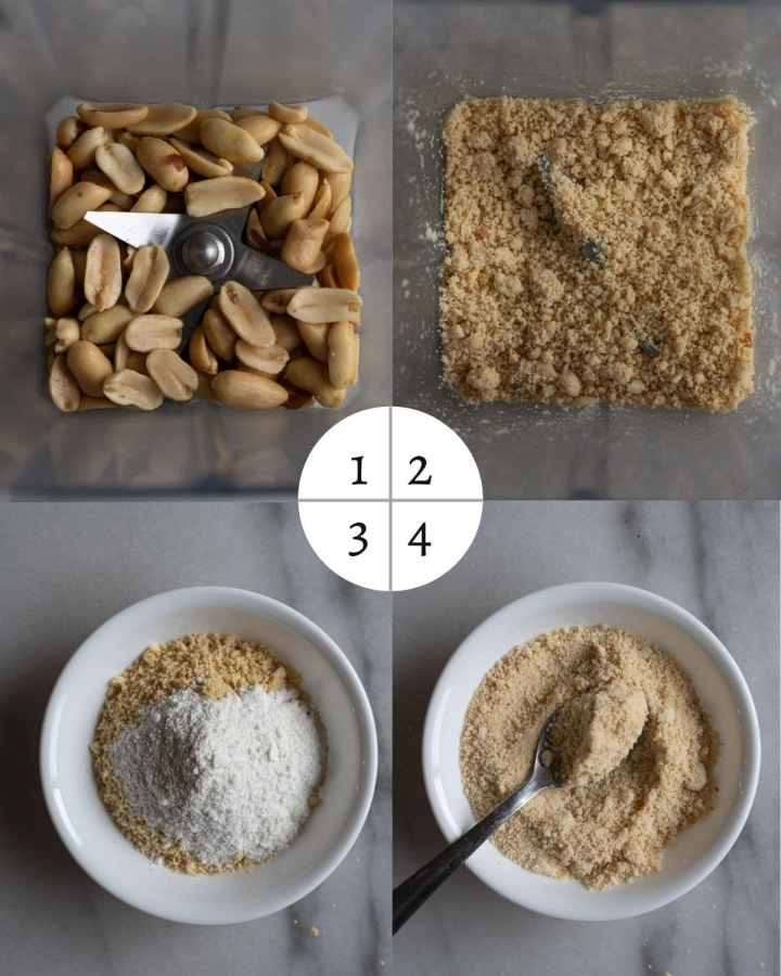 process shots of how to make coarse peanut powder.