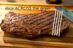 Slice steak across the grain