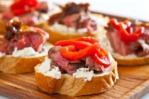 Flank Steak w/ Goat Cheese on Toast