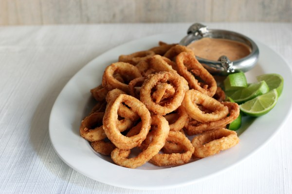 Calamari Rings with Chilli Lime Mayonnaise Cooking in Sens