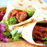 Tortilla wraps with turkey and beans