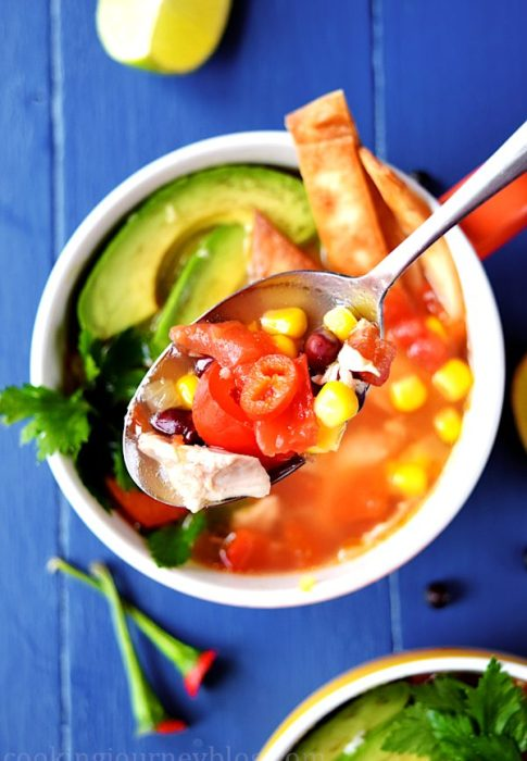 Mexican tMexican tortilla soup is easy, spicy and colorful comfy food you need to make this season! This delicious and really hot Mexican chicken soup with crunchy tortilla and creamy avocado on top will warm you and fill you up. ortilla soup – best chicken tortilla soup.