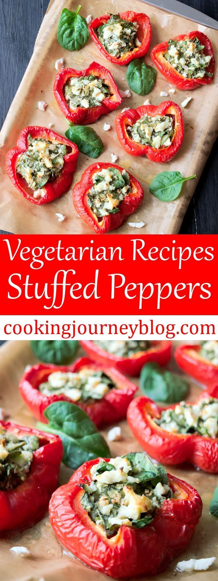 Baked stuffed peppers is one of tasty and healthy vegetarian recipes to prepare straight ahead. If you are searching for easy snacks to make, these stuffed peppers are just perfect! They are juicy, salty and addictive.