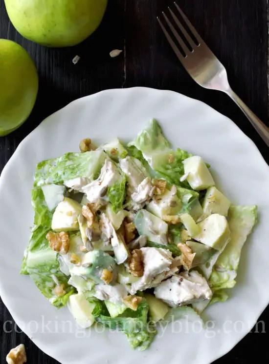 Avocado chicken salad - Healthy salad on a plate