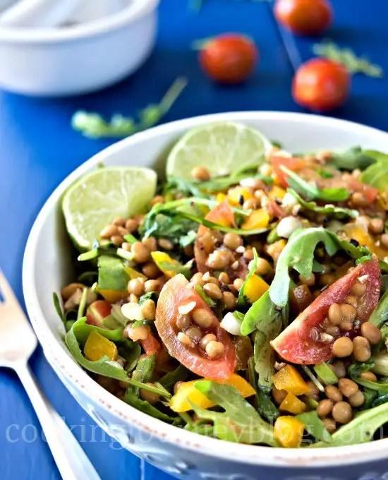 Lentil salad served in a bowl