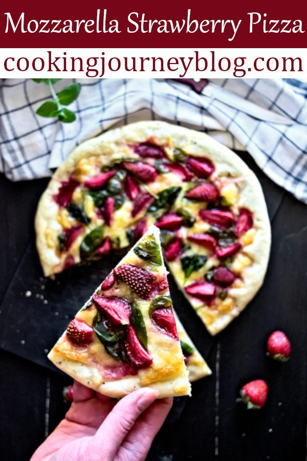 mozzarella strawberry pizza is perfect for brunch. Serve this as a snack between the savory dish and dessert. Great vegetarian pizza to enjoy! It has a great sweet and sour combination of taste you need to try! One of easy strawberry recipes to make for a party. #strawberries #pizza #pizzaparty #mozzarella #cheese