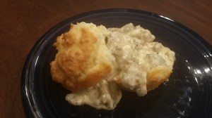 Biscuits with gravy on a