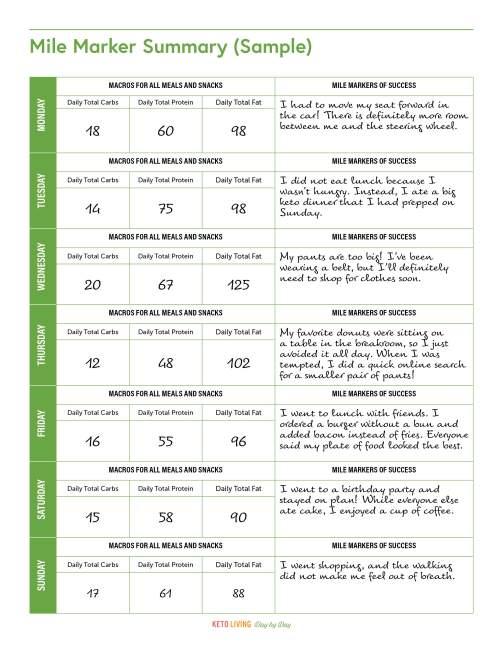 Mile Marker Summary (Sample) - KETO LIVING - 14
