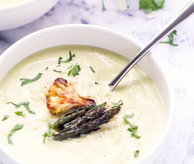 Roasted Cauliflower And Asparagus Soup Recipe Creamy And Delicious This Soup Is So Easy To Make And Loaded With Healthy Ingredients