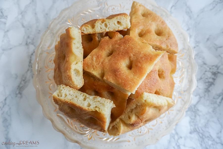 italian classic focaccia bread squares