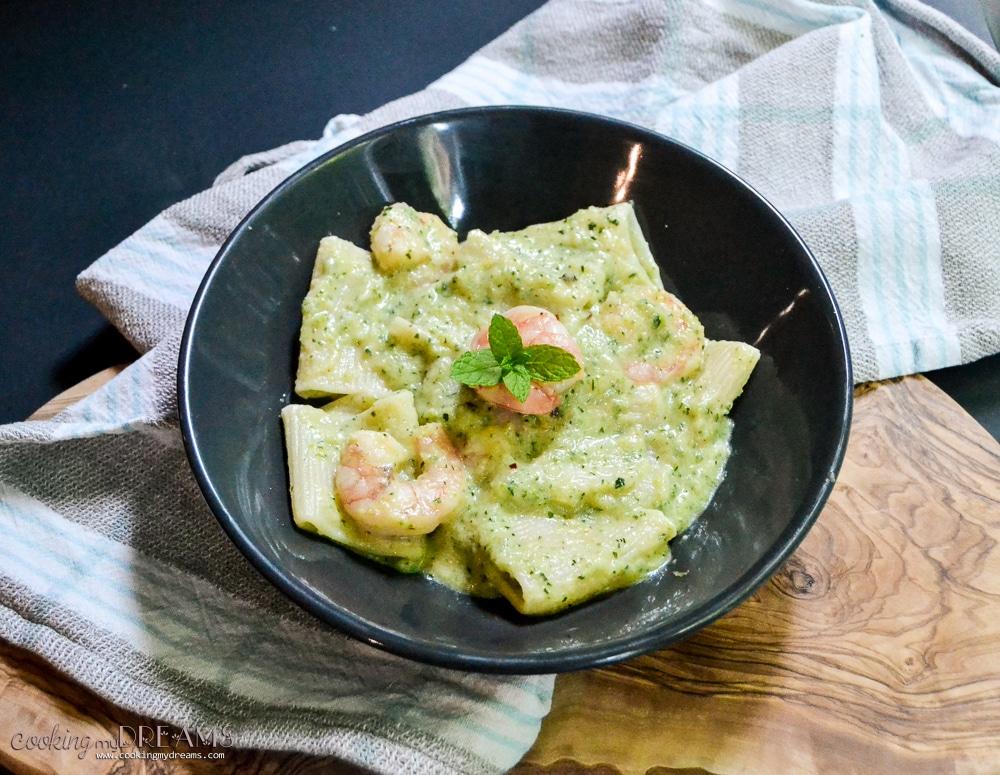 zucchini mint shrimp pasta