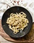 Pici Cacio e Pepe, cheese and black pepper pasta