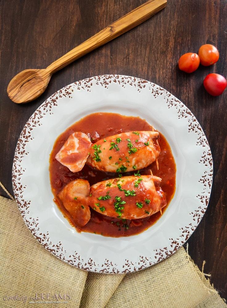 Stuffed Calamari with tomato sauce