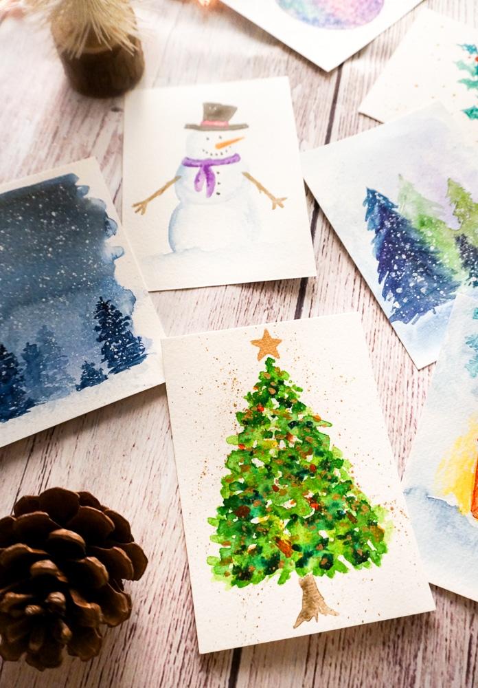 Printable Watercolor Christmas Cards