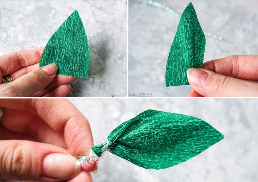 instructions to make crepe paper leaves