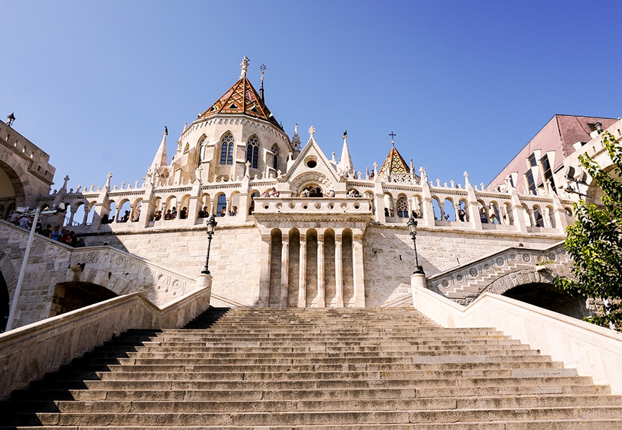 front view of the fisherman's bastion in budapest