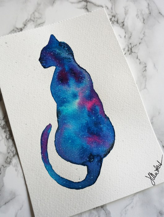 watercolor painting of a cat silhouette in galaxy colors