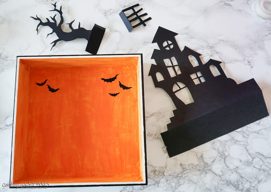 halloween shadow box orange black silhouette haunted house