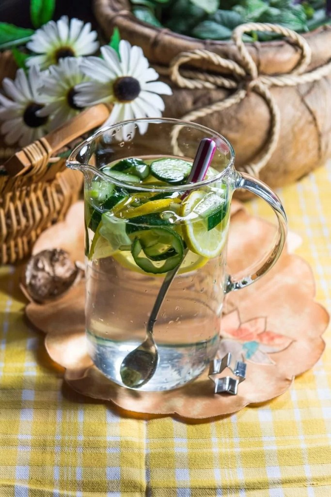 Cucumber and fruit flavored water