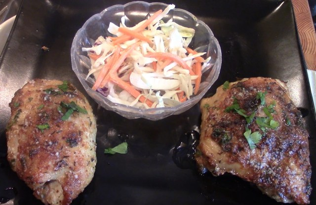 Parmesan Crusted Chicken Thighs with Cole Slaw