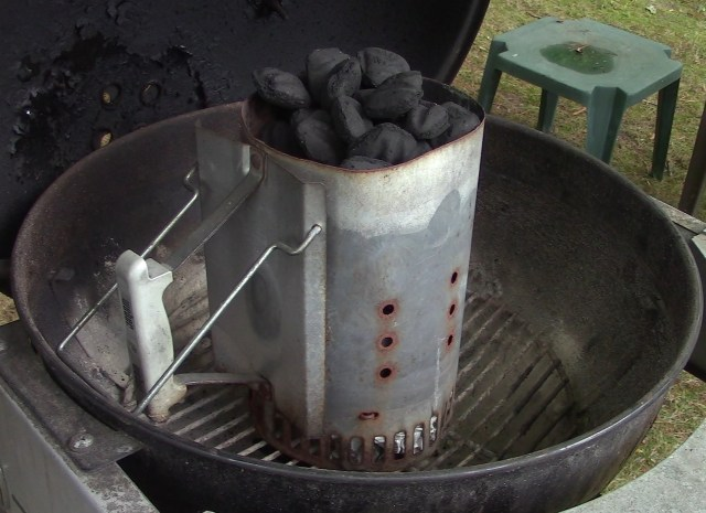 Chimney starter full with Charcoal