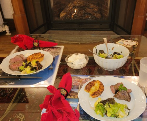 Beef Tenderloin with Yorkshire Pudding by the fire