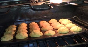 Corn Muffins in the oven